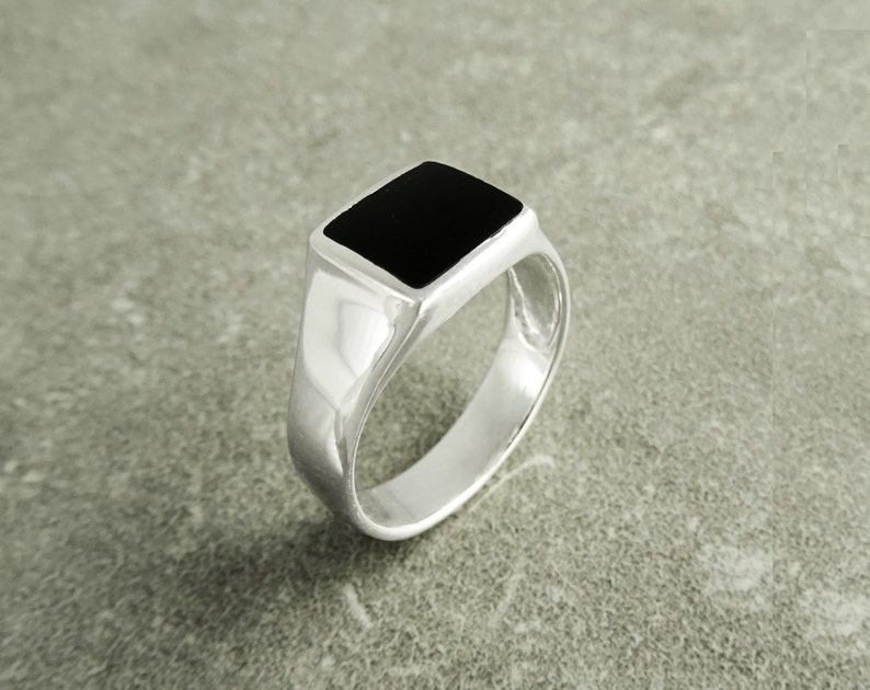 Signet Ring Sterling Silver Pinky Ring Square Onyx ring image 0
