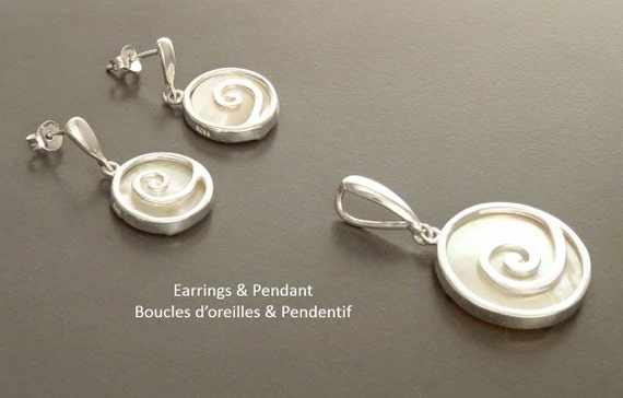 Sterling Silver Set - 925 - Shell Jewelry - Earrings and Pendant Set -  Spiral - Shell Dangle Earrings -  Mother of Pearl - Boho Jewelry.