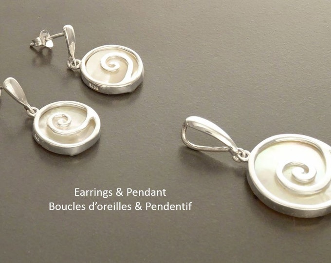 Spiral Earrings, Sterling Silver 925, White Mother of Pearl Shell Jewelry, Earrings and Pendant Set, Modern Jewelry.Set