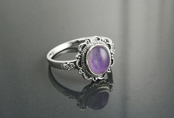 Amethyst Ring, Sterling Silver, Natural Real Purple Amethyst Gemstone, Dainty Violet Stone Ring, Small Oval Ring, Antique Boho Jewelry