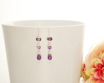 Purple Stone Earrings, Sterling Silver, Hook Earrings, Violet Stones Drop Earrings, Long silver earrings, Modern Long Earrings