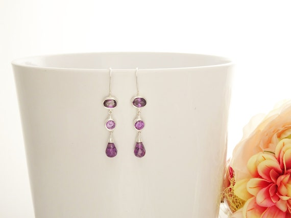Amethyst Chandelier Earrings - Hook Earrings - Sterling Silver Drop Earrings - Purple Cubic Zirconias - Long silver earrings - Modern Style