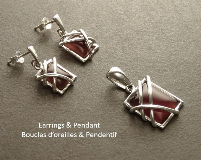 Amethyst Earrings - Sterling Silver - Square Stone Earrings - Purple Gemstone - Modern Style Jewelry - Filigree Earrings - Violet Color