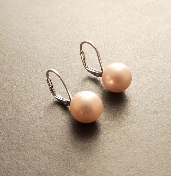 10 mm GENUINE Pink Shell Pearl Earrings, Sterling Silver, Lever Back Earrings, Minimalist, Pearl Jewelry, Prom, Wedding, Bridesmaids Gifts
