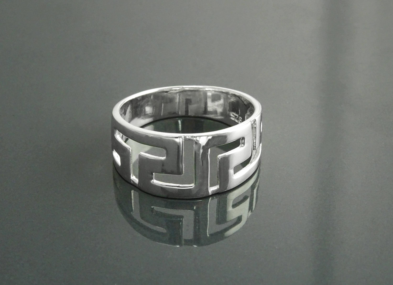 Meander Ring Sterling Silver Antique Greek Long Life Key Symbol