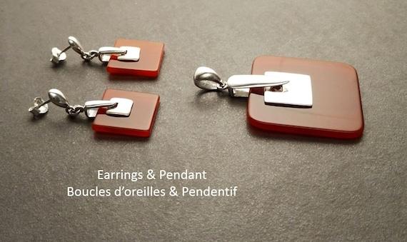 Red square Earrings - Sterling Silver Earrings - Square Earrings - Red Agate Earrings - Red Stone Earrings - Ruby Color - Modern Earrings