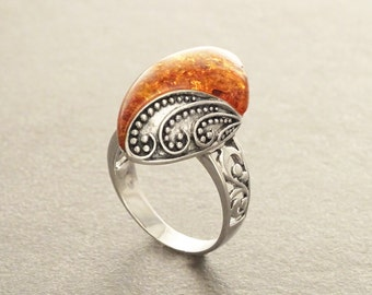 Boho Amber Ring, Sterling Silver 925, GENUINE Amber Gemstone with Inclusions, Intricate Filigree Jewelry, Antique Vintage Bali Bohemian Ring