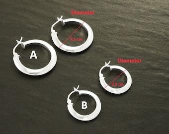 Modern Hoops Earrings, Sterling Silver 925, Large Round Hoop Earrings, Modern Hoop Wire, French Lock Hoops, Elegant Girl Women Hoop Gift