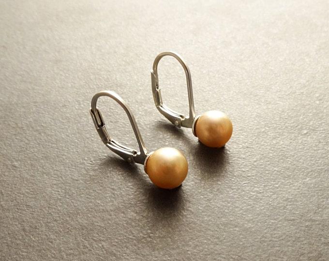 Gold Pearl Earrings, Sterling Silver, Lever Back Earrings, GENUINE 6 mm Gold Shell Balls Earrings, Minimalist, Pearl Jewelry
