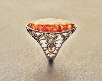 Amber Ring, Sterling Silver Ring, Genuine Amber Gemstone Ring, Filigree Ring, Antique Stone ring, Unique Statement Boho Jewelry