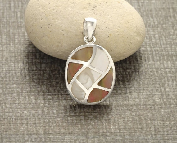 GENUINE Brown Paua Shell Mosaic Pendant SET, Sterling Silver, Oval Grid Pendant, Brown MOP with Rainbow Highlights, Geometric Wave Jewelry
