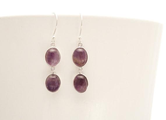 Amethyst Earrings, Sterling Silver Long earrings, Purple Amethyst Gemstone, Modern Purple Stones drop earrings, February Birthstone Jewelry