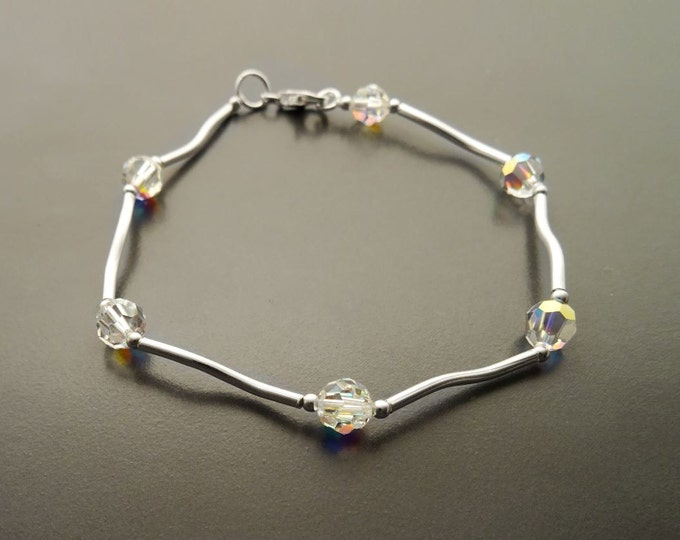 Crystal Bracelet, Sterling Silver, White Clear Beaded Stone Bracelet, Modern Faceted Borealis Rainbow Crystal stones Beads