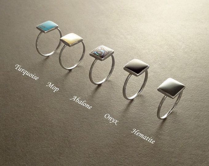 Stacking Rings, Sterling Silver Ring, Square Ring, Gemstone ring, Small Ring, Affordable Ring, Stone Ring, Dainty Jewelry, Rings set