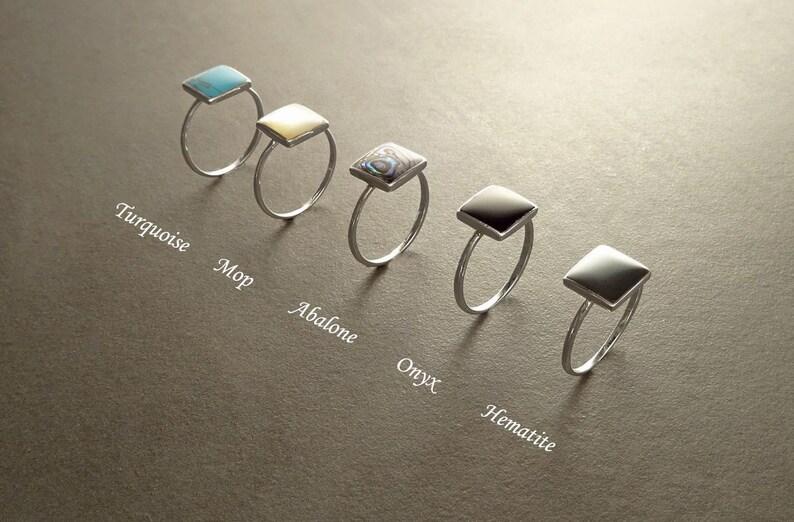 Stacking Rings Sterling Silver Ring Square Ring Gemstone image 0