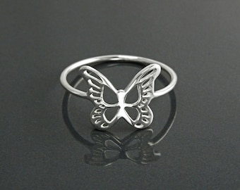 Butterfly Ring, Sterling Silver, Filigree Butterfly Ring, Lace Ring, Stackable Ring, Midi Ring, Open Work Ring, Dainty Boho Ring, Pinky Ring