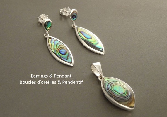 Paua Shell Earrings and Pendant Set,  Sterling Silver 925, Blue Green Paua Shell with Rainbow Highlights, Almond Shape, Minimalist Jewelry.