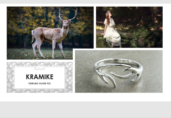 Deer Antler Ring, Sterling Silver Ring, Open Ring, Dainty Ring, Adjustable Ring, Band ring, Wrap ring, Boho ring, Cross Ring, Woman Gift