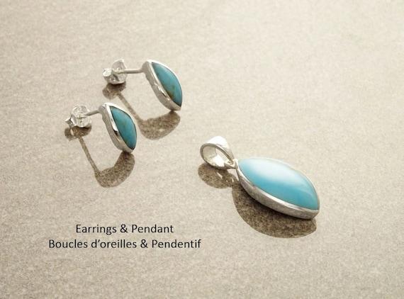 Blue Minimalist Set - Sterling Silver Set - Almond Shape - Stud set - Blue Turquoise Set - Dainty set - Post Set - Vintage style. Design .