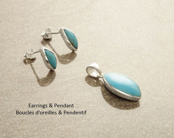 Turquoise Oval Earrings, Sterling Silver, Blue turquoise stone necklace, Almond Shape Pendant Set, dainty turquoise jewelry, studs earrings