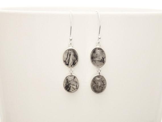 Black and White Stone, Quartz Earrings, Sterling Silver, Rutilated Quartz Gemstone, Modern Drop Earrings, Dangle Two Oval Stones Earrings.