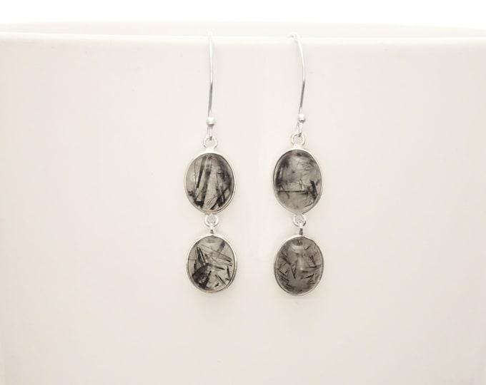 Quartz Earrings, Sterling Silver, Genuine Gray Black and White Rutilated Quartz Stone Jewelry, Modern Oval Stones, Drop Gemstone Earrings