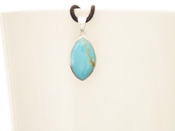 Turquoise Oval Pendant - Sterling Silver Pendant, Almond Shape, Blue Turquoise Pendant, Minimalist Stone Pendant, Turquoise Modern Pendant