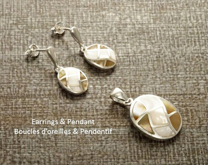 Brown Bicolor Earrings Set, Sterling Silver, White Mother of Pearl Stones Oval Mosaic and Brown Cooper Color Paua Shell, Checkered Jewelry