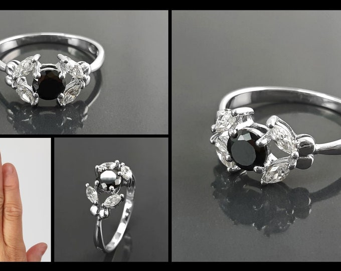 Halo Ring, Sterling Silver, Black and white Cz Stones, Modern Solitaire Ring, Minimalist Stone Jewelry, Woman Ring