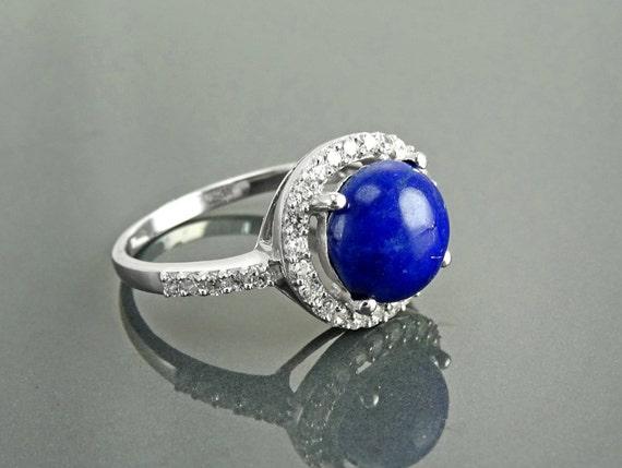 GENUINE Lapis Ring, Sterling Silver, NATURAL Bleue Lapis Lazuli Round Stone, Lapis Gemstone Jewelry, Lab Diamonds Simulants (CZ) Stones