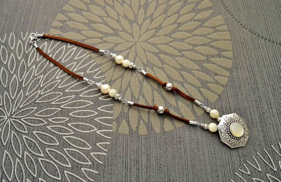 Boho Leather Necklace - Sterling silver Pendant - Brown Leather Necklace - Boho Pattern - Mother of Pearl - Tribal Necklace - Hipster- MOP