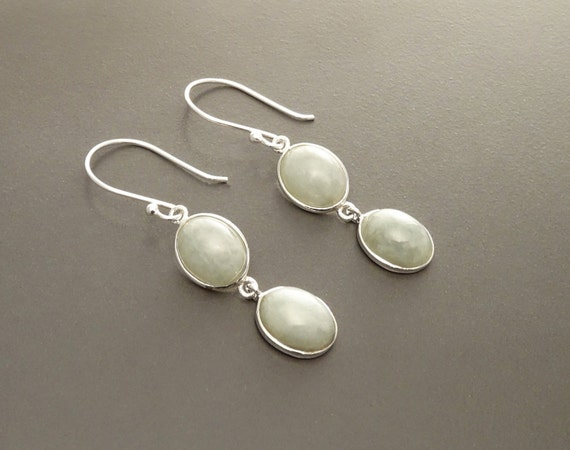 NATURAL Jade Earrings, Sterling Silver, NOT-DYED Light Green Jade Gemstone, Minimalist Modern Drop Earrings, Two Oval Stones Dangle Earrings