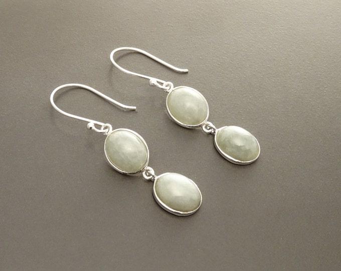 Jade Stone Earrings, Sterling Silver, NATURAL Light Green Jade Gemstone, Minimalist Drop Earrings, Modern Dangle Oval Stones Jewelry