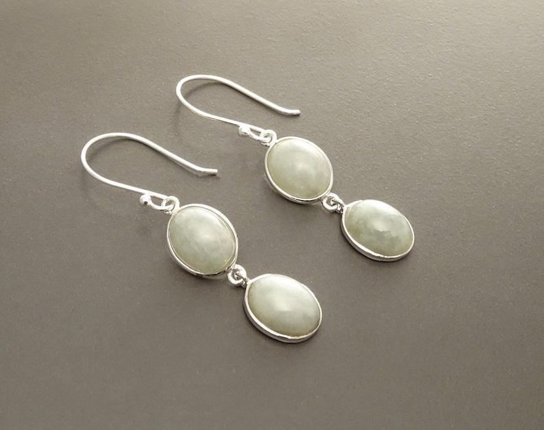 Jade Stone Earrings Sterling Silver NATURAL Light Green Jade image 0