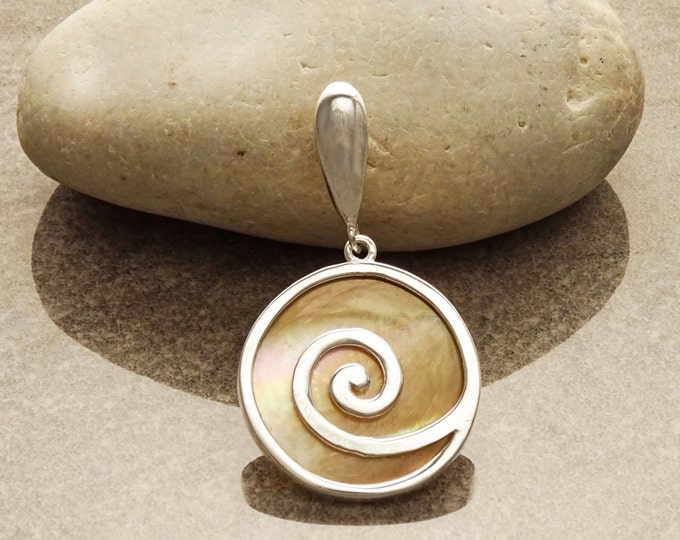 Spiral  Necklace, Sterling Silver, Natural Gold Brown Paua Shell Rainbow Reflections, Geometric Round Stone Dangle Pendant