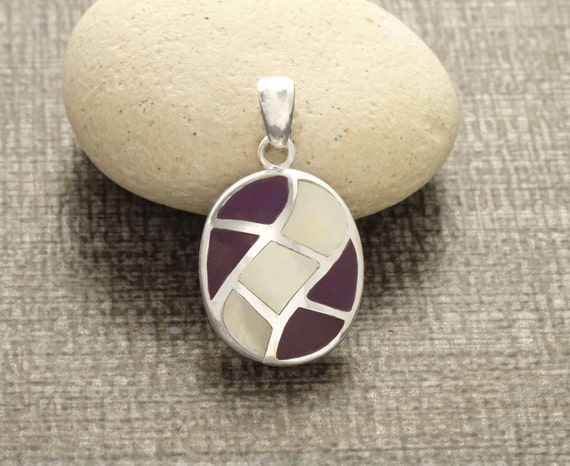 Oval Mosaic Pendant - Sterling Silver Pendant, White Mother of Pearl, Wave Pattern Pendant, Inlay Dangle Pendant, Purple, Shell Pendant