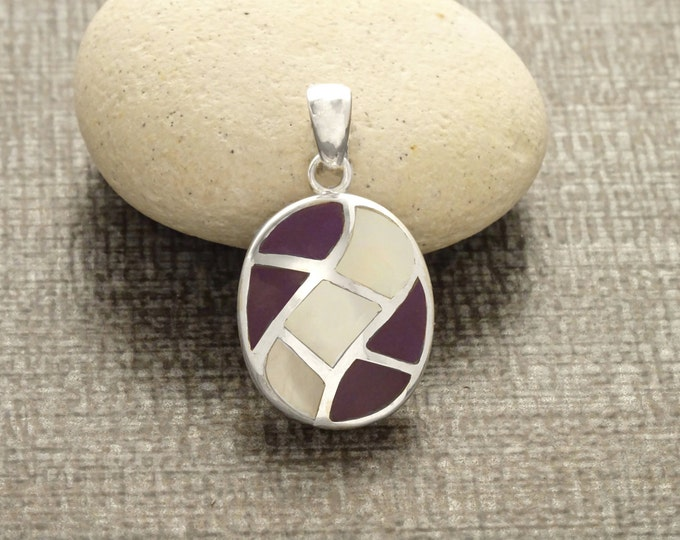 Oval Purple Pendant - Sterling Silver Pendant, White Mother of Pearl, Mosaic Wave Pattern Pendant, Inlay Dangle Pendant, Purple Color