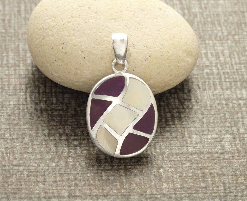 Oval Purple Pendant  Sterling Silver Pendant White Mother of image 0
