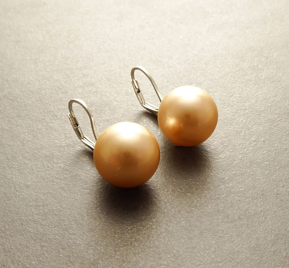 14 mm GENUINE Gold Shell Pearl Earrings, Sterling Silver, Lever Back Earrings, Minimalist, Pearl Jewelry, Prom, Wedding, Bridesmaids Gifts
