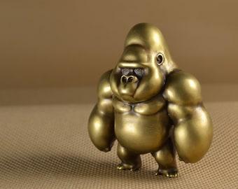 Brass Casting King Kong Solid Statue, Hand Polishing Standing Gorilla Copper Artwork, Lost Wax Casting Metal Figurine, Desk Bookcase Decor