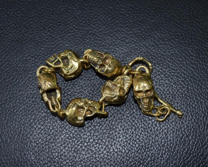 Handmade Pure Copper Skull Bracelet Men's gift Hand image 0