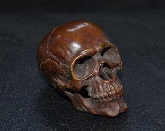 Fine 1/4 Bronze Human Skull, Movable jaw, Old vintage craft Copper Artwork Marble Brass base, Home decor EDC, Nice Gift