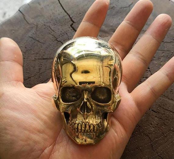Handmade Vintage Copper Brass Cast Skull Mini Human Skull Gothic Table Display