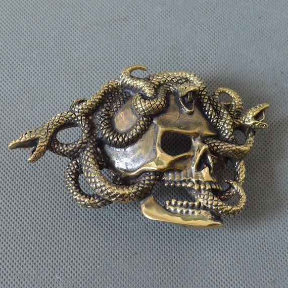 Hand Lost wax casting Solid Copper Snake Mens Belt Buckle COOL Punk Personal