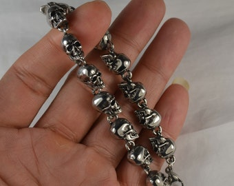 COOL Stainless Steel Small Human Skull Bead Bracelet, Polished Punk Gothic Skull, DIY Chain Link Personal Gift