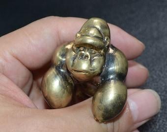 Handmade Copper Casting Solid Gorilla Statue, Lost Wax Casting Metal Figurine, High Polishing White Copper Artwork, Desk Bookcase Art Decor