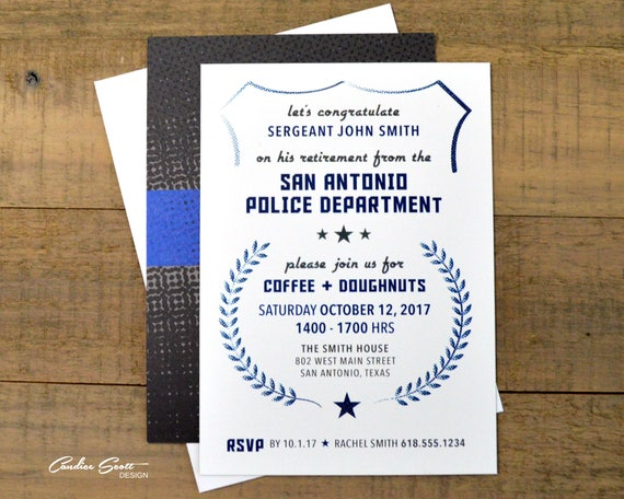 Police Retirement Invitation With Thin Blue Line Theme Etsy