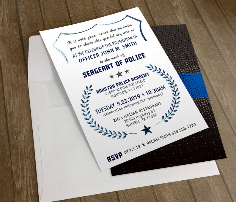 Police Promotion Invitation With Thin Blue Line Theme Printable File