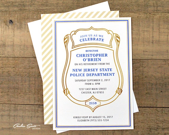 Police officer retirement invitation with badge number do it etsy image 0 reheart Choice Image