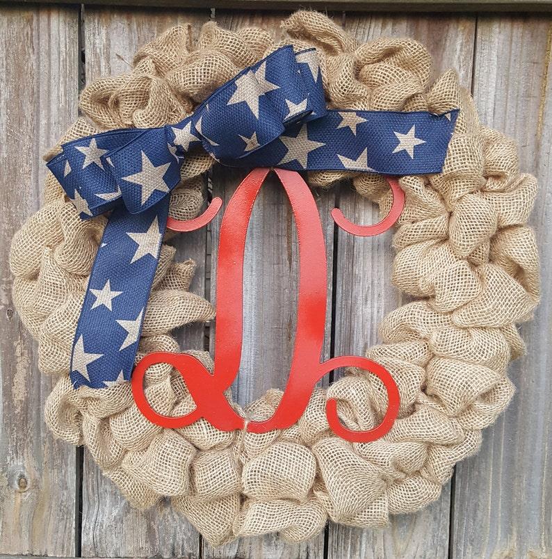 Monogram Wreath Summer Wreath Fourth of July Burlap Wreath 4th of July Wreath Burlap Monogram Wreath Patriotic Wreath Door Wreath
